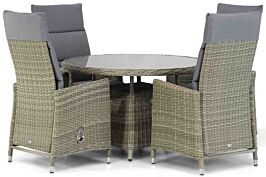 Garden Collections Madera/Buckingham 115 cm rond dining tuinset 5-delig