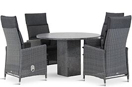 Garden Collections Madera/Graniet rond 120 cm dining tuinset 5-delig