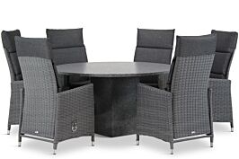 Garden Collections Madera/Graniet rond 140 cm dining tuinset 7-delig