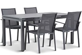 Lifestyle Mattine/Concept 160 cm dining tuinset 5-delig stapelbaar