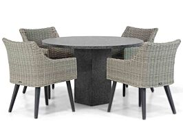 Garden Collections Milton/Graniet 120 cm rond dining tuinset 5-delig