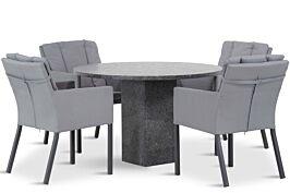 Lifestyle Parma/Graniet 120 cm rond dining tuinset 5-delig