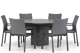 Lifestyle Rome/Graniet 140 cm rond dining tuinset 7-delig