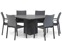 Lifestyle Rome/Graniet 170 cm triangel dining tuinset 7-delig
