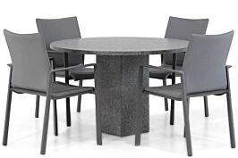 Lifestyle Rome/Graniet 120 cm rond dining tuinset 5-delig