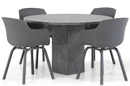 Lifestyle Salina/Graniet rond 120 cm dining tuinset 5-delig