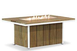 Lifestyle Seaside teak lounge vuurtafel 120 x 80 cm wit