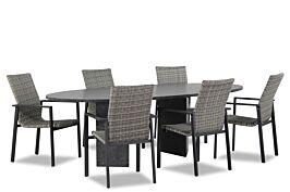 Lifestyle Upton/Graniet ovaal 240 cm dining tuinset 7-delig stapelbaar