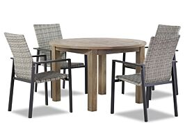 Lifestyle Upton/Brighton 120 cm rond dining tuinset 5-delig stapelbaar