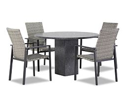 Lifestyle Upton/Graniet 120 cm dining tuinset 5-delig stapelbaar