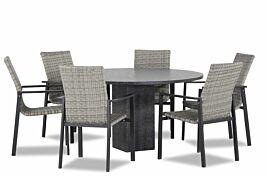 Lifestyle Upton/Graniet 140 cm dining tuinset 7-delig stapelbaar