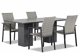 Lifestyle Upton/Graniet 180 cm dining tuinset 5-delig stapelbaar