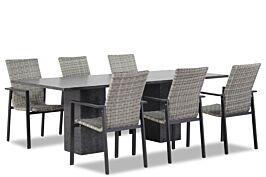 Lifestyle Upton/Graniet 220 cm dining tuinset 7-delig stapelbaar