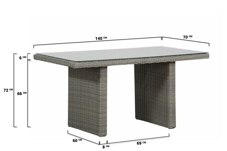 Aluminium Tuintafel Met Glazen Plaat.Garden Collections Wilson Lounge Dining Tafel 140 X 70 Cm