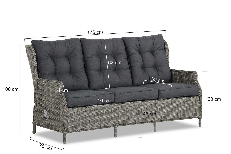 Wicker 2 Zits Bankje.Garden Collections New Castle Lounge Tuinbank 3 Zits Verstelbaar