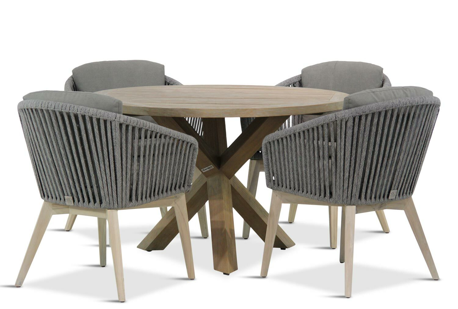 Ronde Houten Tuinset.4 Seasons Outdoor Santander Sand City Rond 120 Cm Dining Tuinset 5 Delig
