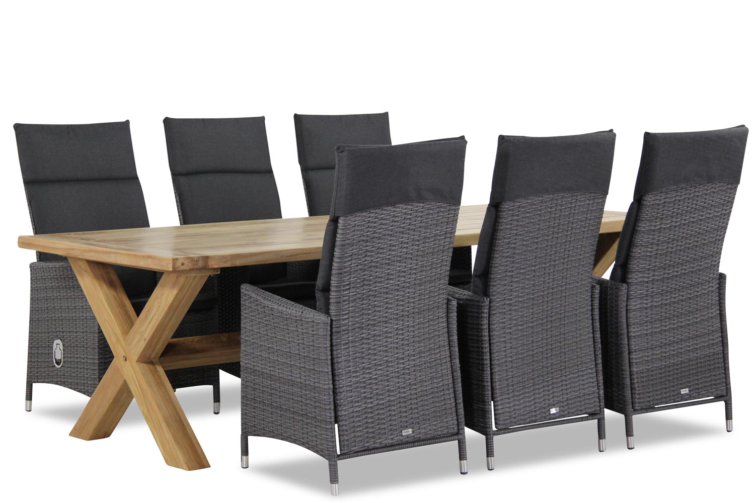 Wicker Garden Collections Denver/Weisshorn 240 cm dining tuinset 7-delig verstelbaar