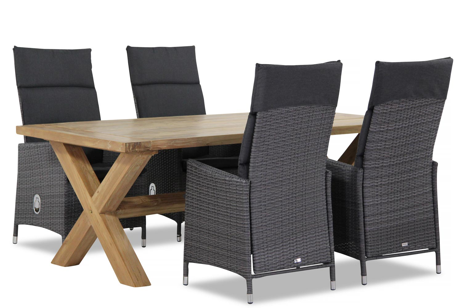 Wicker Garden Collections Denver/Weisshorn 200 cm dining tuinset 5-delig verstelbaar
