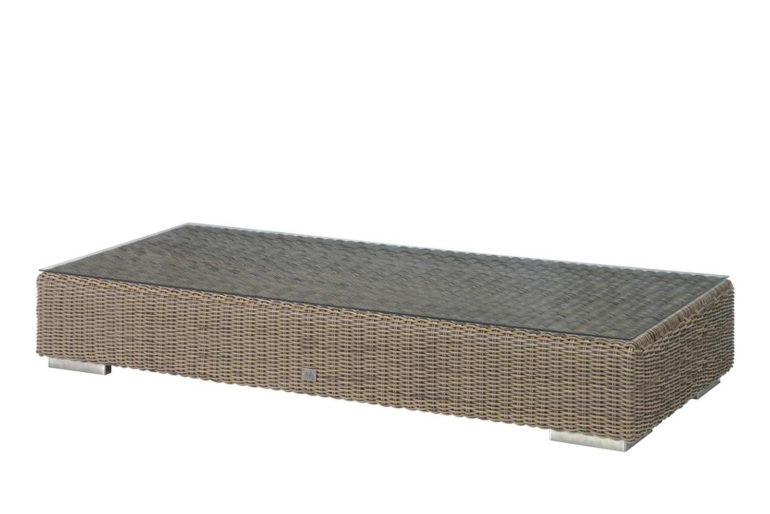 4 Seasons Outdoor Kingston loungetafel met glasplaat 180 x 80 x 35 cm
