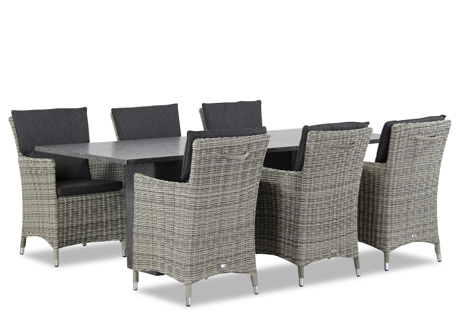 Wicker Garden Collections Springfield/Graniet 220 cm dining tuinset 7-delig