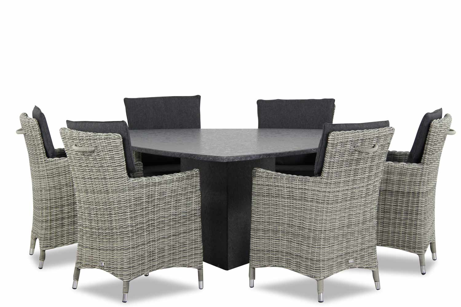 Wicker Garden Collections Springfield/graniet triangel 170 cm dining tuinset 7-delig