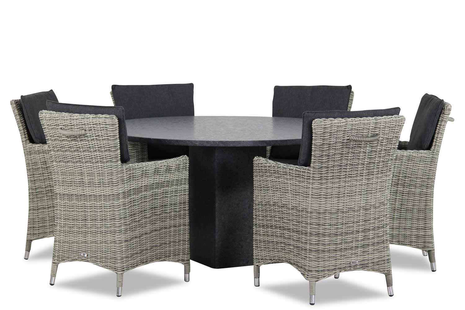 Wicker Garden Collection Springfield/Graniet 140 cm dining tuinset 7-delig