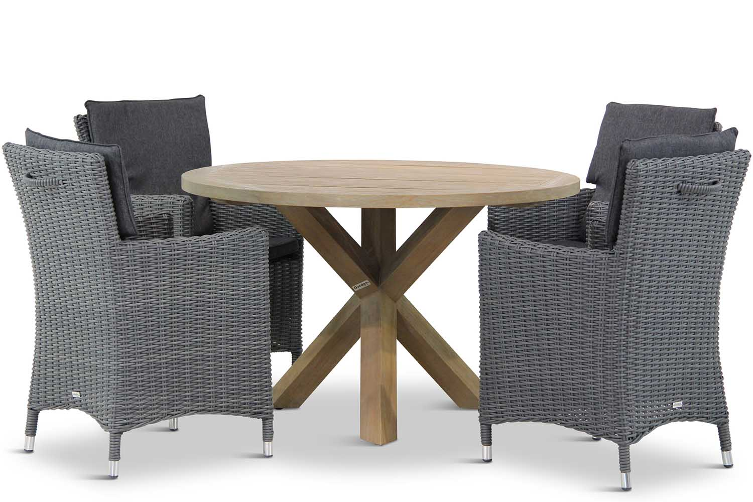 Wicker Garden Collections Springfield/Sand City rond 120 cm dining tuinset 5-delig